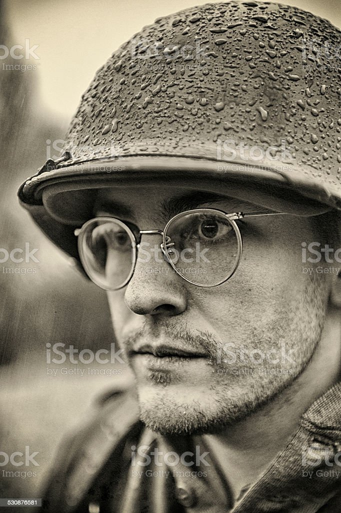 WWII US American Soldier - Aged Photo - Portrait stock photo