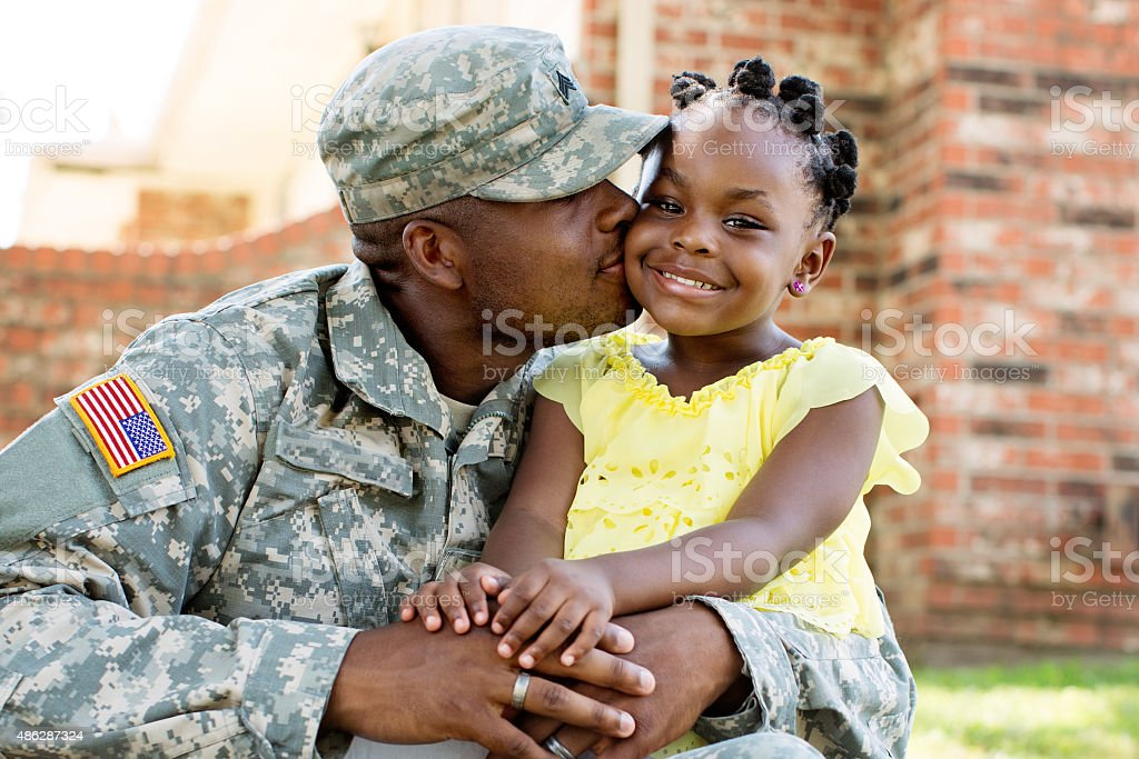 American Soldier and Daughter stock photo