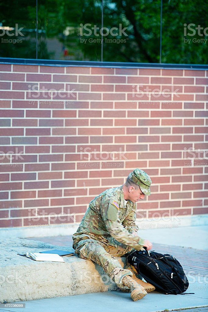 American Soldier at campus royalty-free stock photo