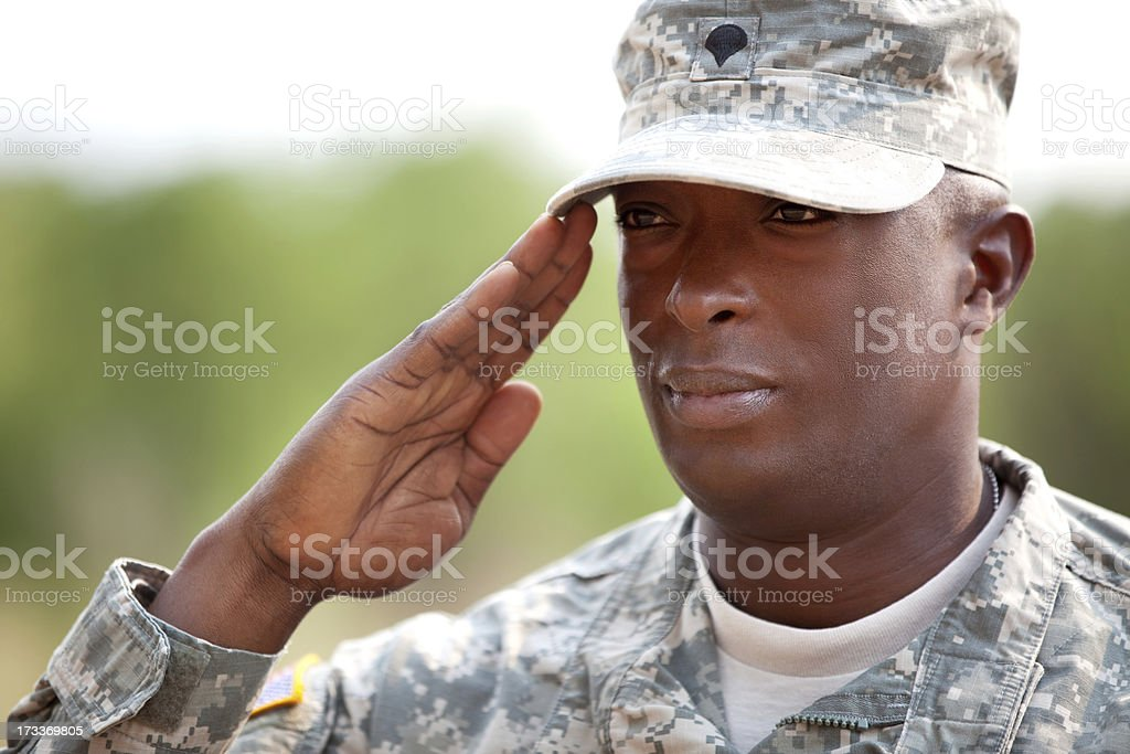 American soldier in army combat uniform or ACU outdoor stock photo