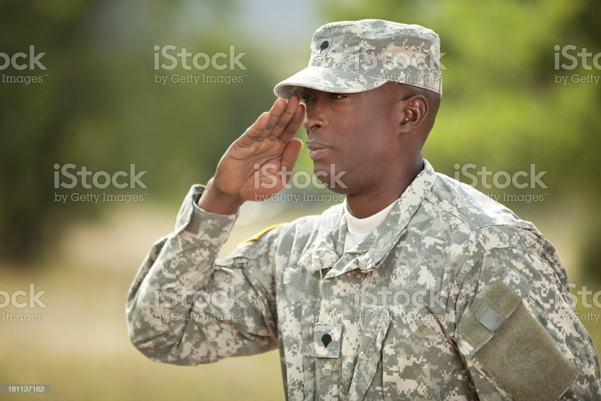 American soldier in army combat uniform or ACU outdoor royalty-free stock photo