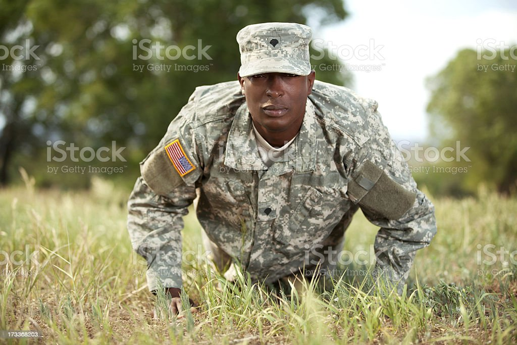 American soldier in army combat uniform or ACU royalty-free stock photo