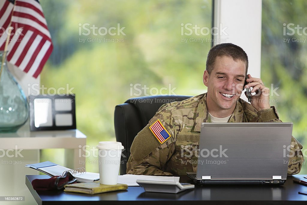 American Soldier in his office stock photo
