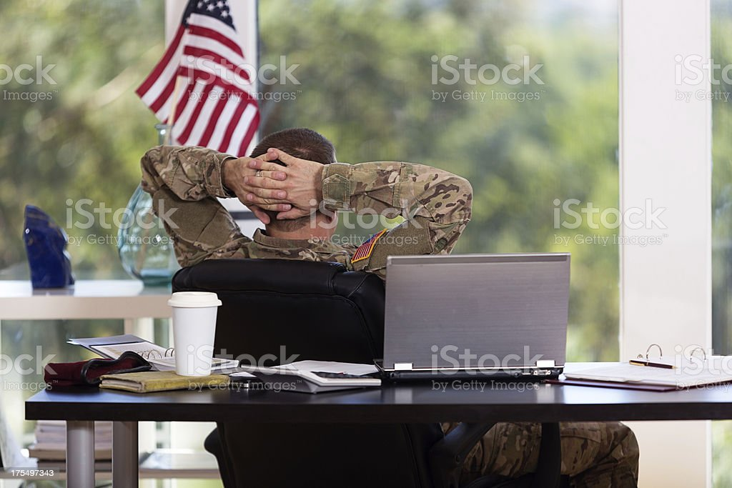 American Soldier in his office royalty-free stock photo
