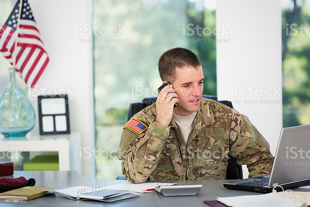 American Soldier on the phone royalty-free stock photo