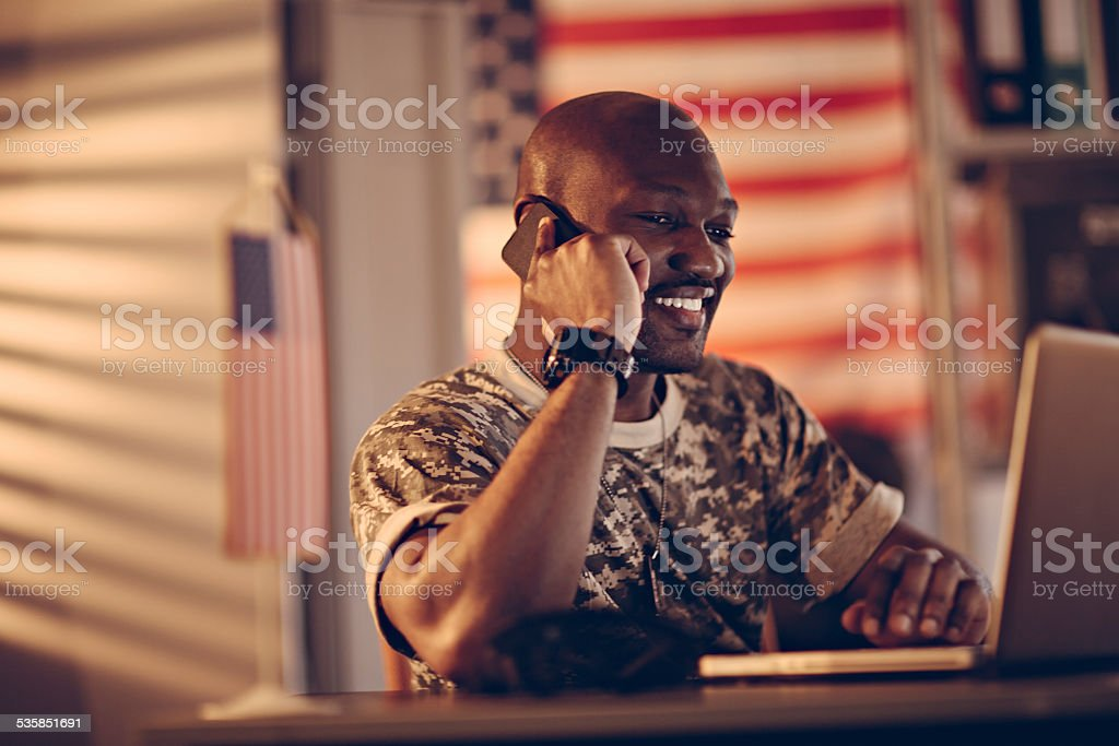 American soldier on the phone stock photo