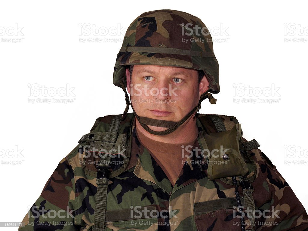 American soldier on white stock photo