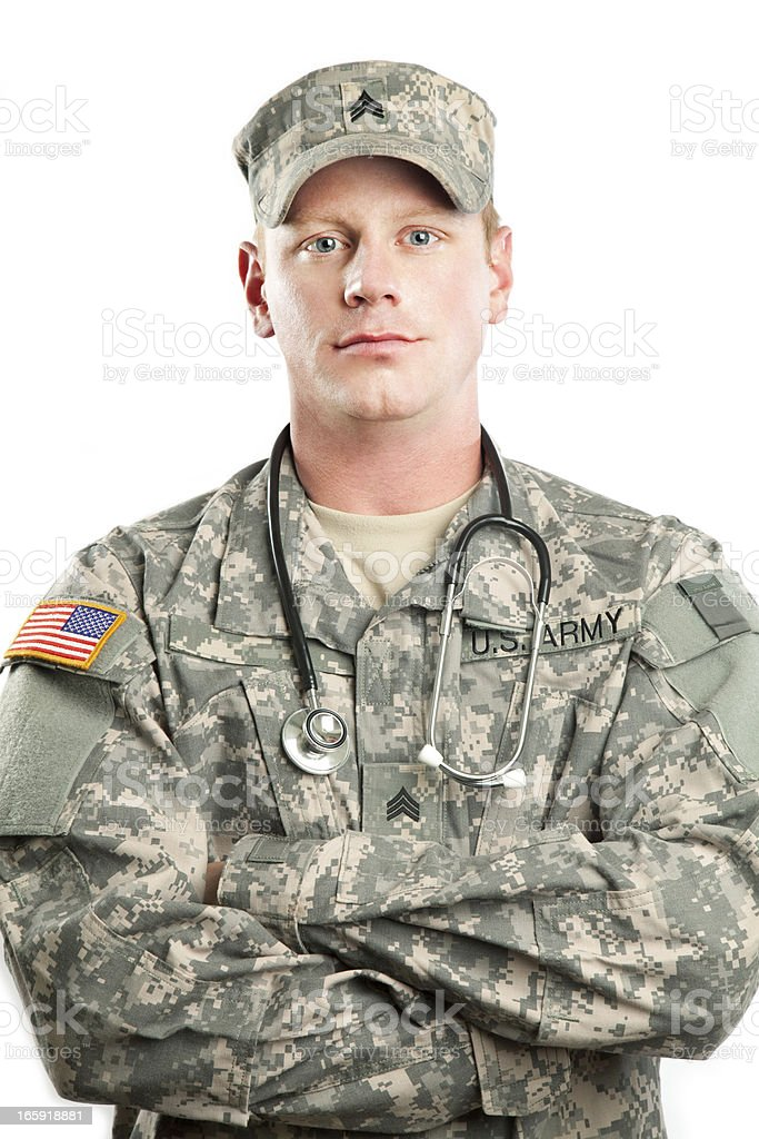 American Soldier Series: Young Sergeant against White Background royalty-free stock photo