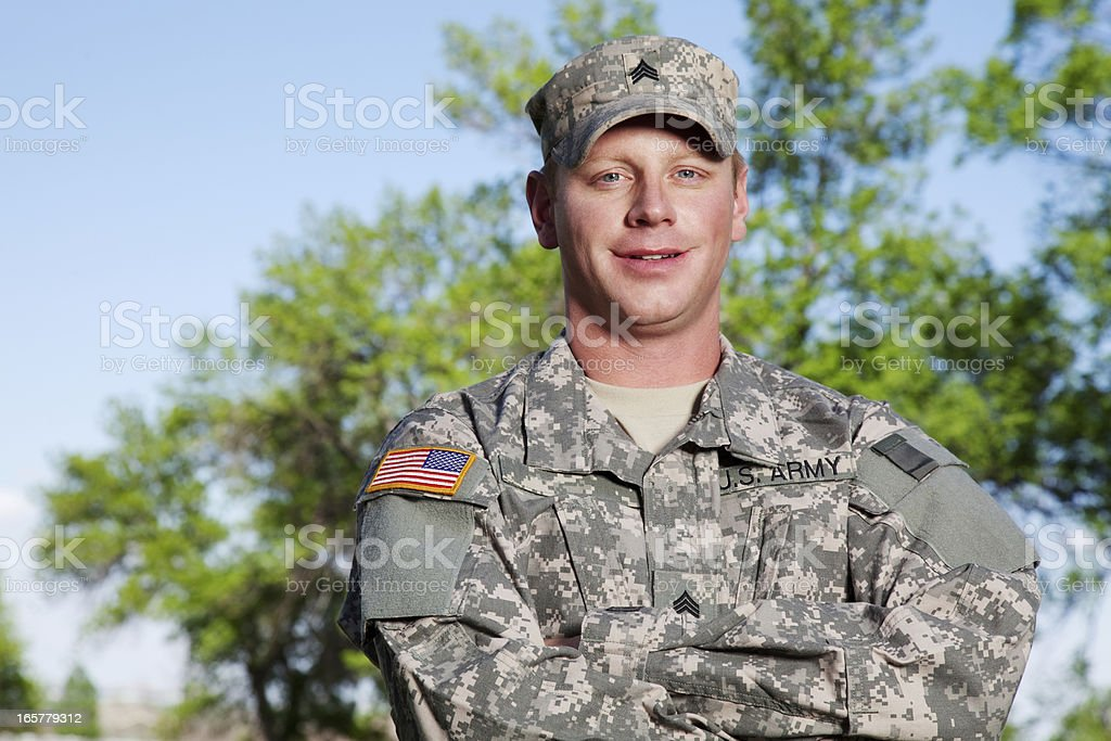 American Soldier Series: Young Sergeant Outdoor stock photo