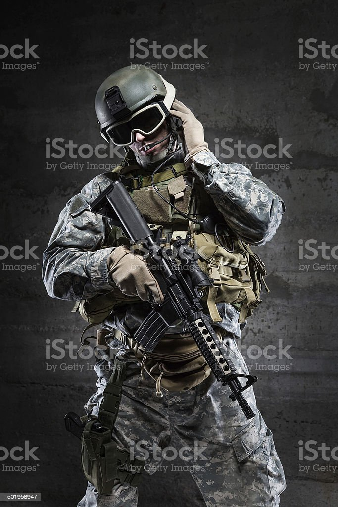 American Soldier talking via radio stock photo