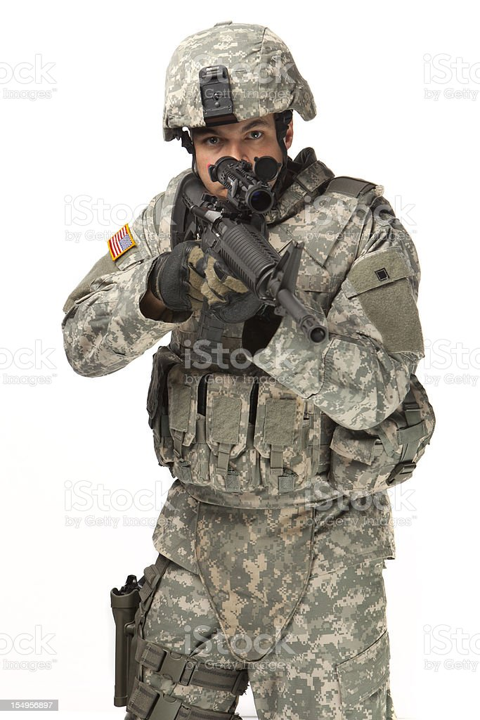 American Soldier with body armour in aready position royalty-free stock photo
