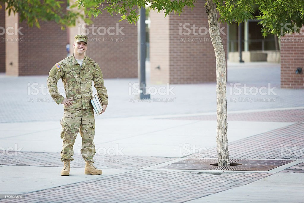 American Soldier with books royalty-free stock photo