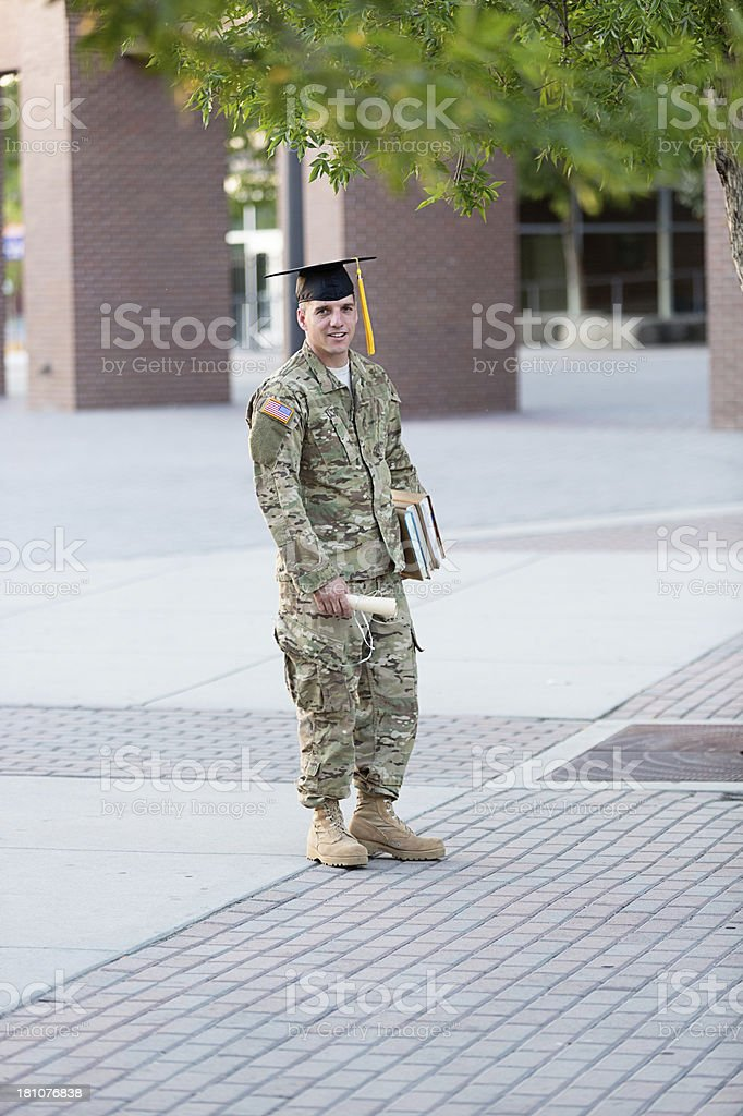 American Soldier with graduation hat royalty-free stock photo