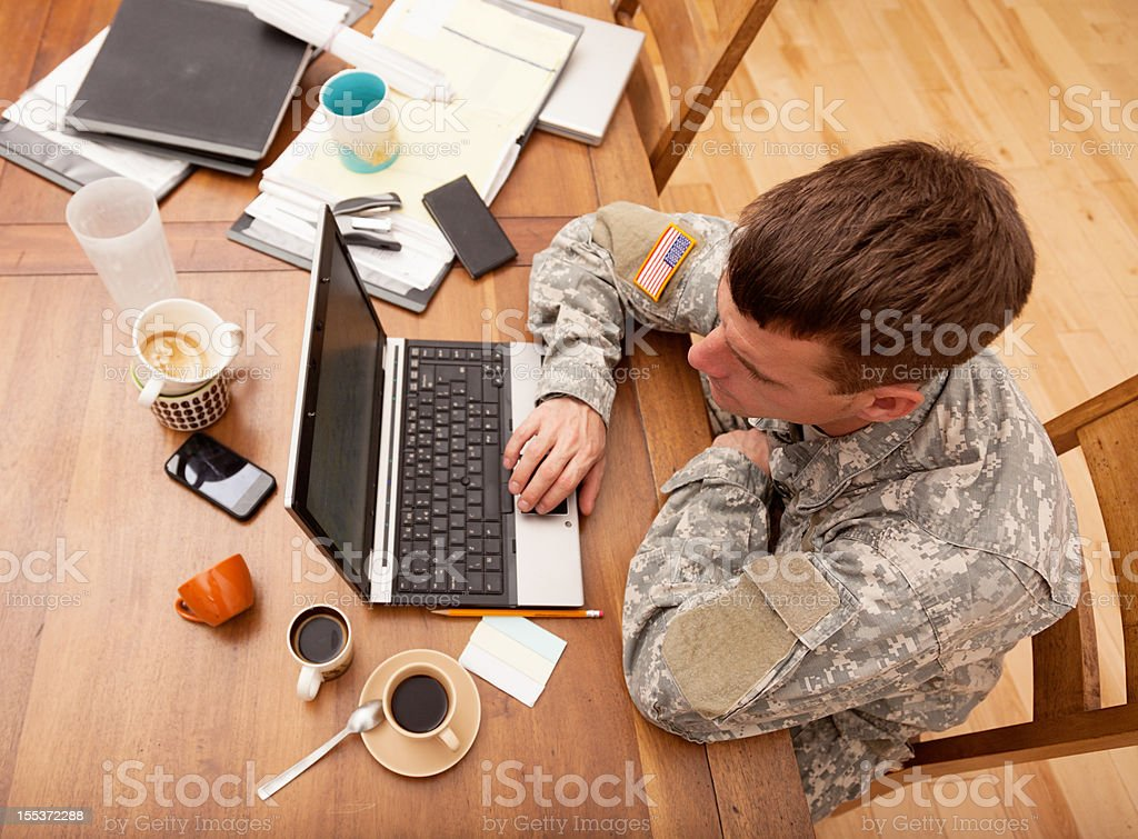 American soldier working at computer royalty-free stock photo