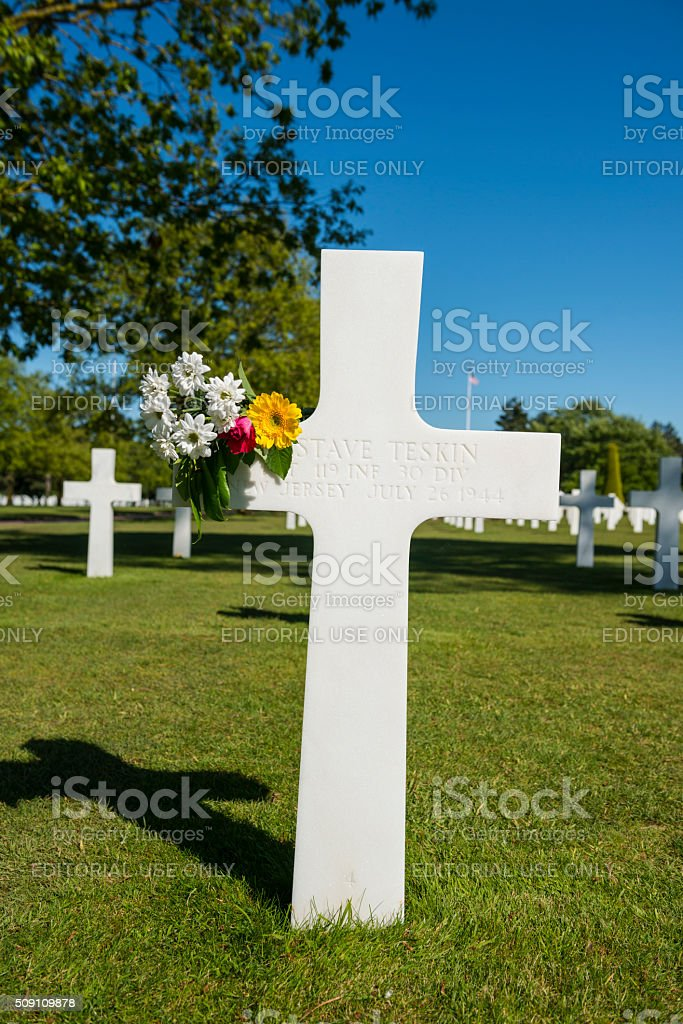 American soldier's grave in Normandy, France stock photo