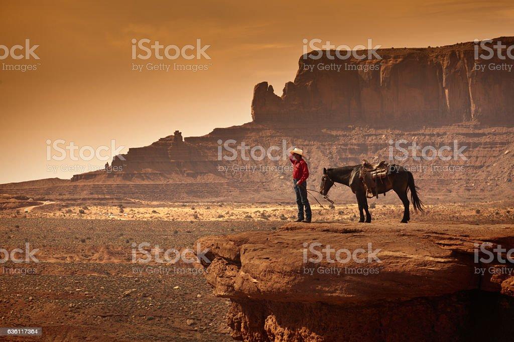 American Southwest Cowboy on Horse stock photo