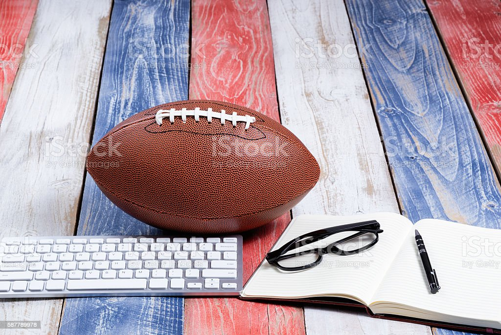 American sport tradition of football on patriot USA colors stock photo