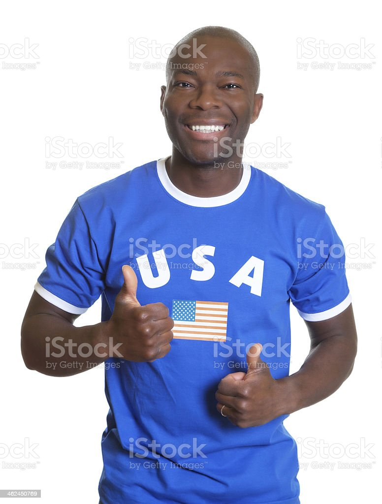 American sports fan showing both thumbs up stock photo