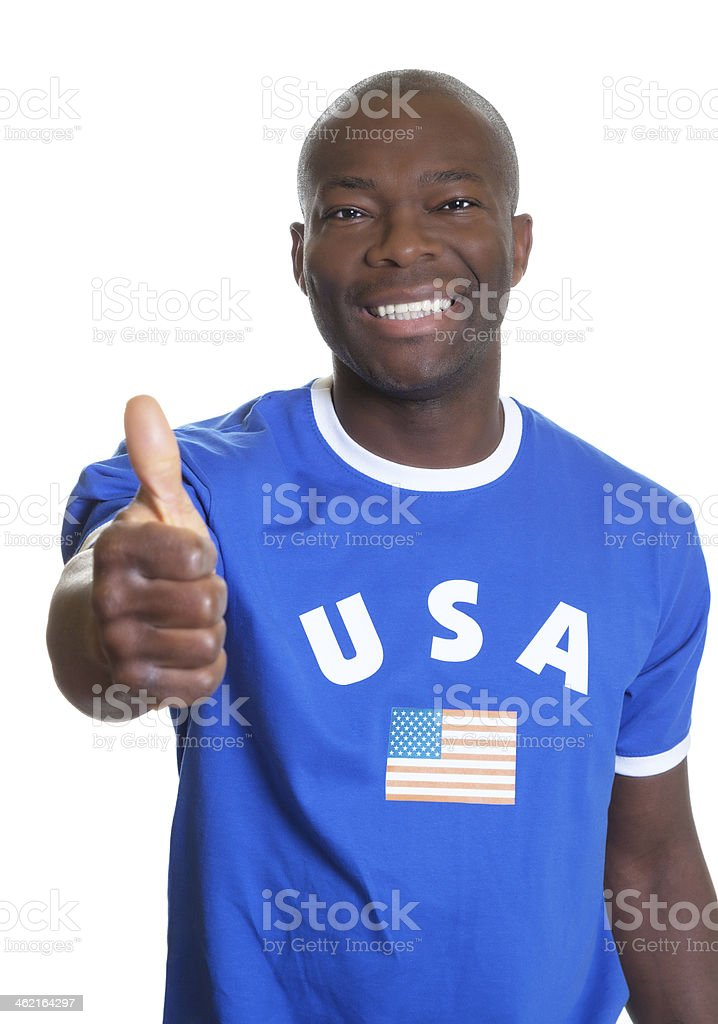 American sports fan showing thumb up stock photo