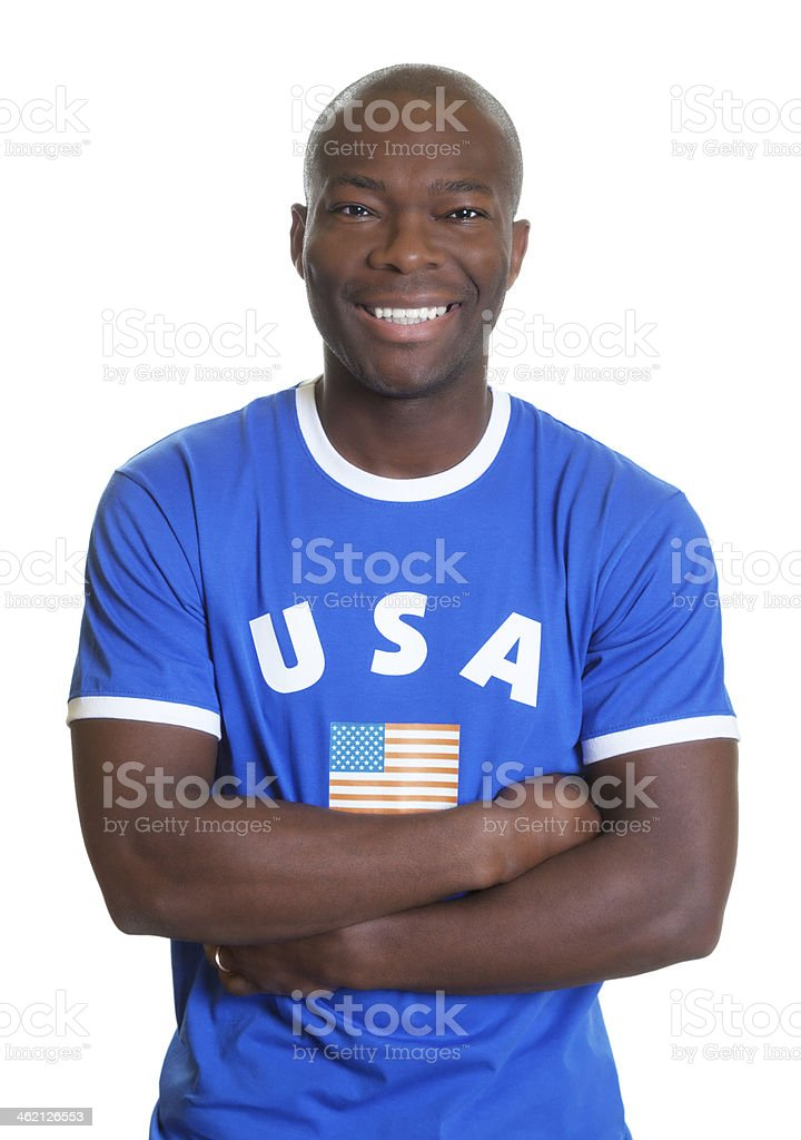 American sports fan with crossed arms looking at camera stock photo