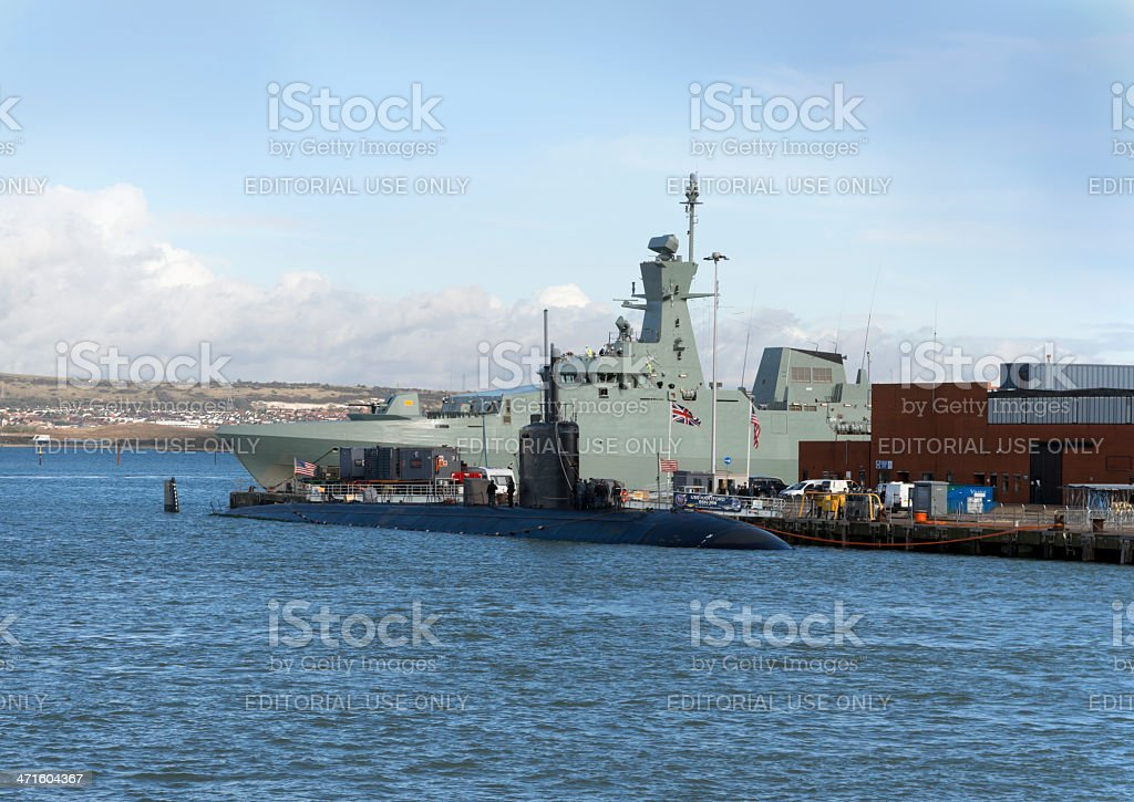 American submarine moored at Portsmouth dockyard royalty-free stock photo