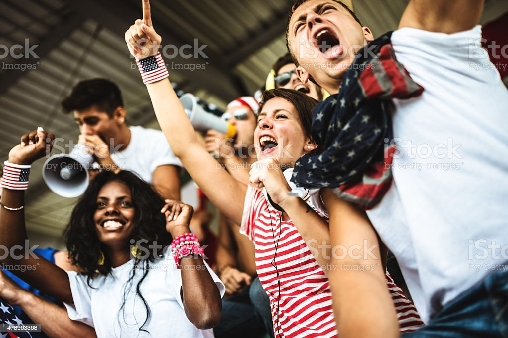 american supporter at the soccer stadium stock photo