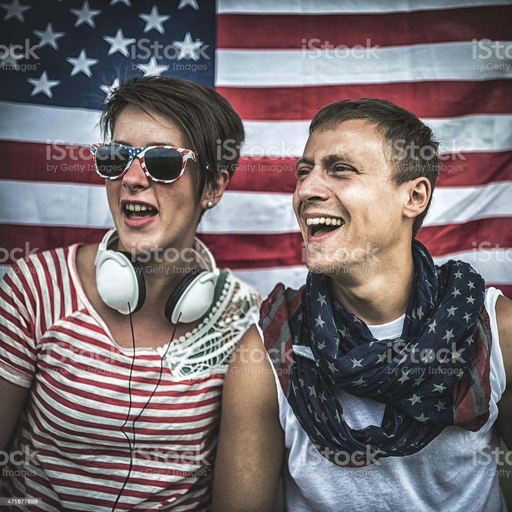 american supporter at the stadium royalty-free stock photo
