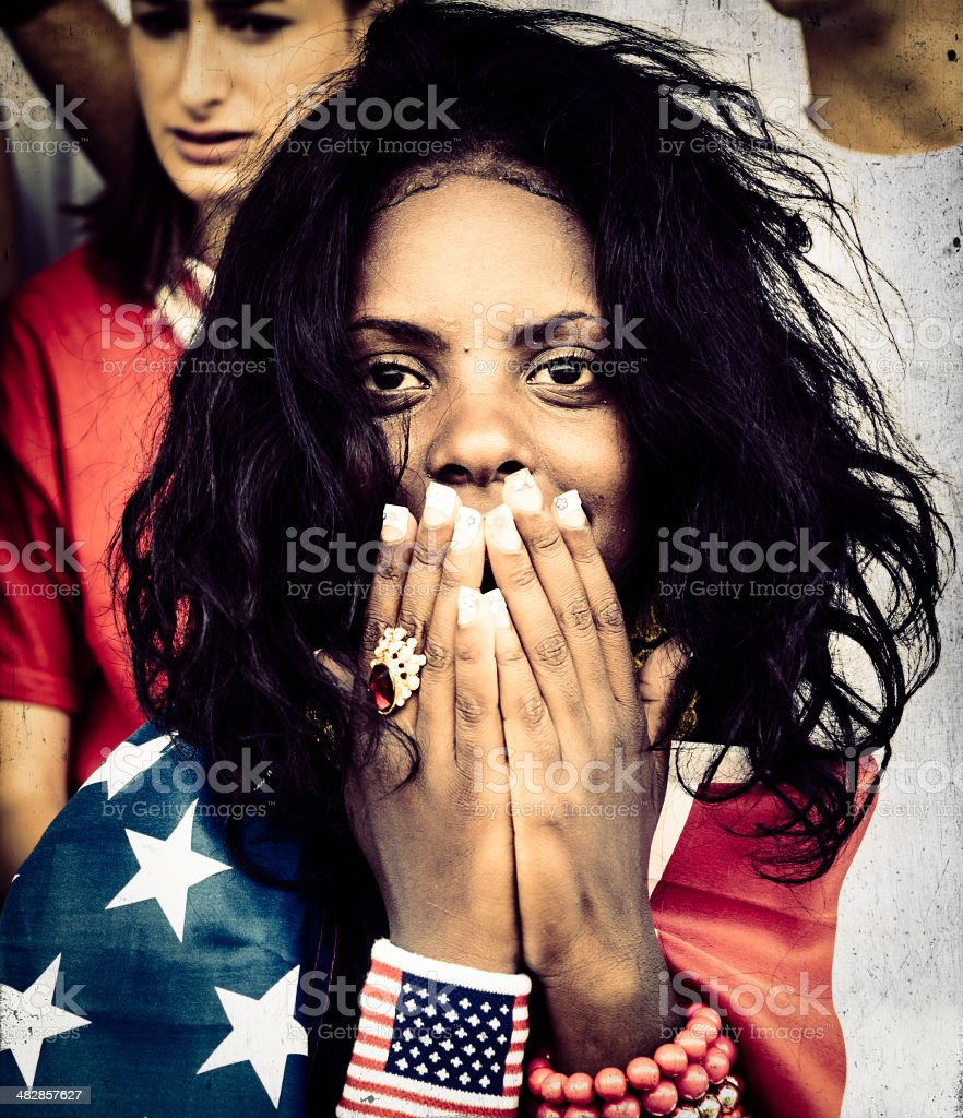 American Supporter Prays For A National Goal stock photo