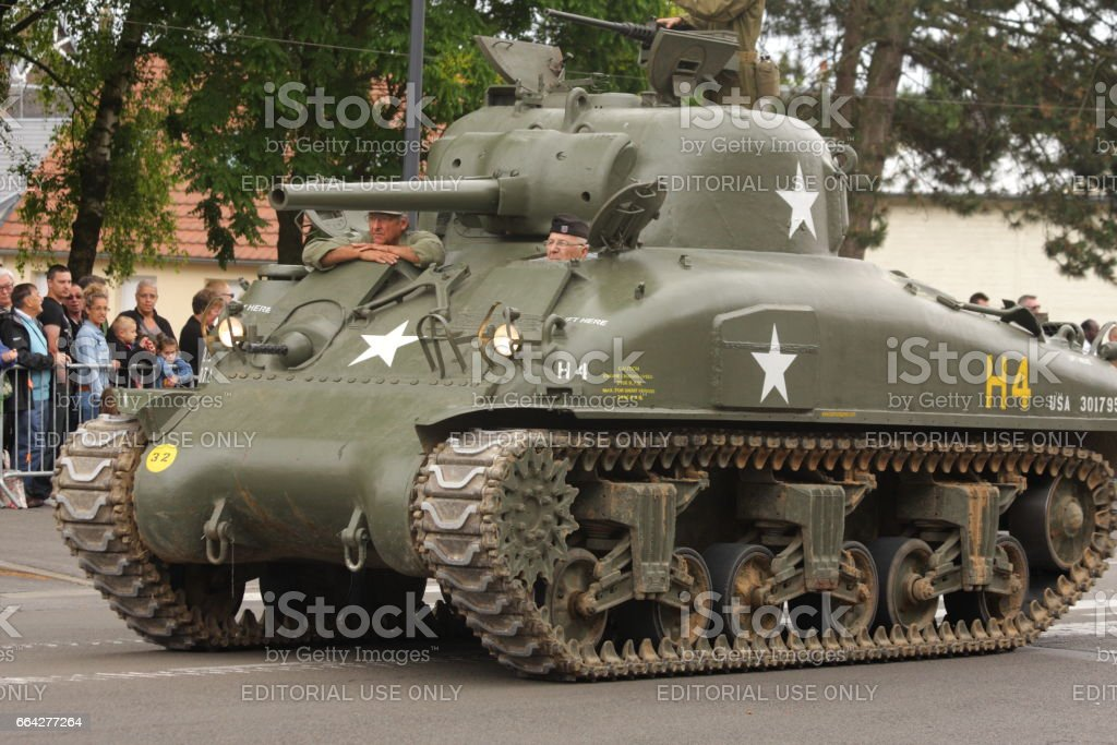 American tank of the Second World War parading for  commemorating the French Revolution stock photo