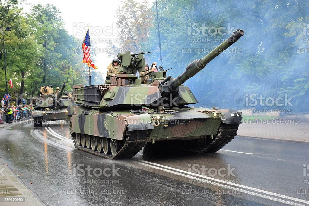 American tanks driving on the street stock photo