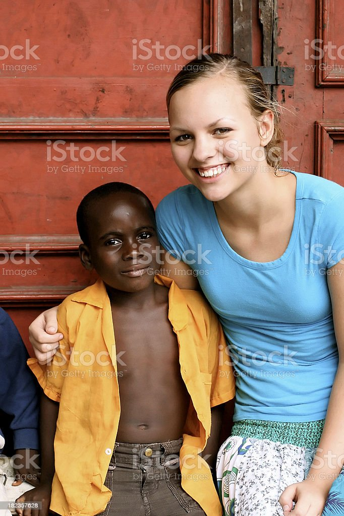 American Teen With African Boy royalty-free stock photo