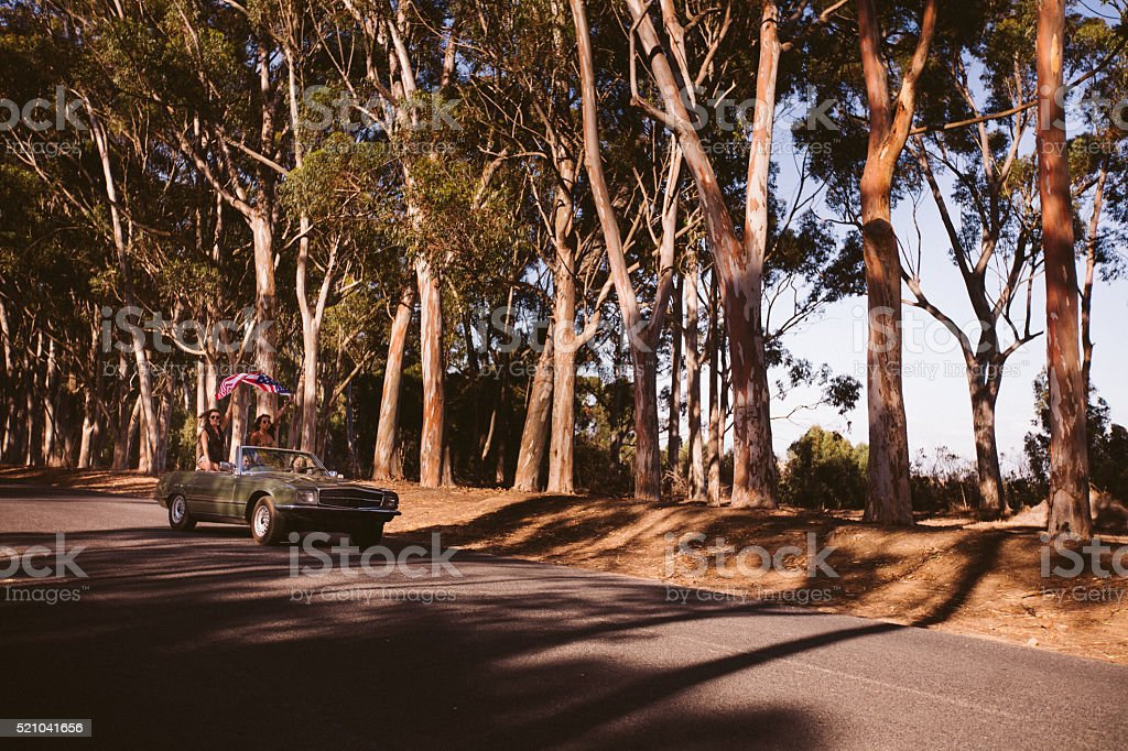 American Teenager friends making a road trip in california stock photo