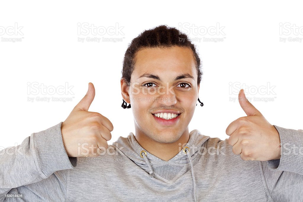 American teenager holds both thums up royalty-free stock photo