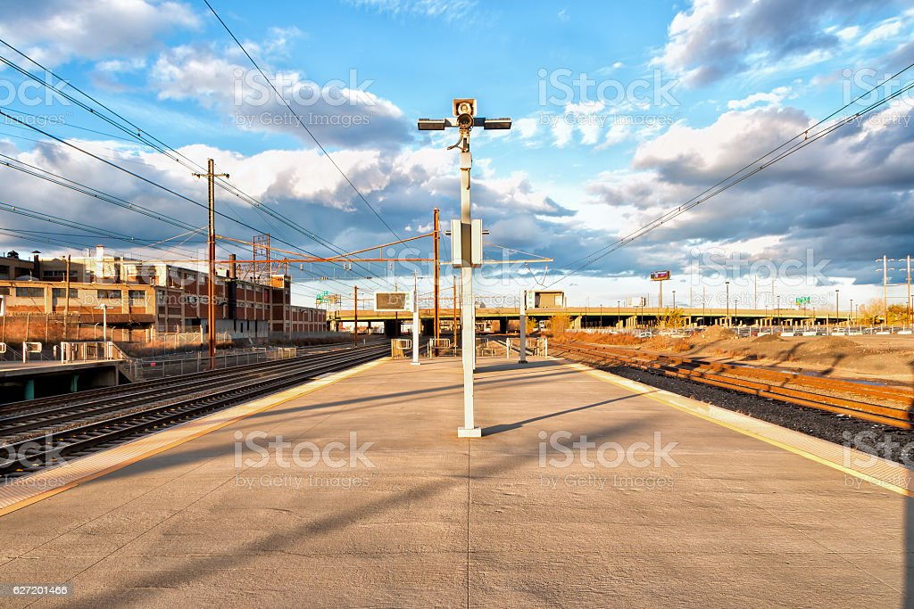 American Train Station Platform - Newark, New Jersey stock photo