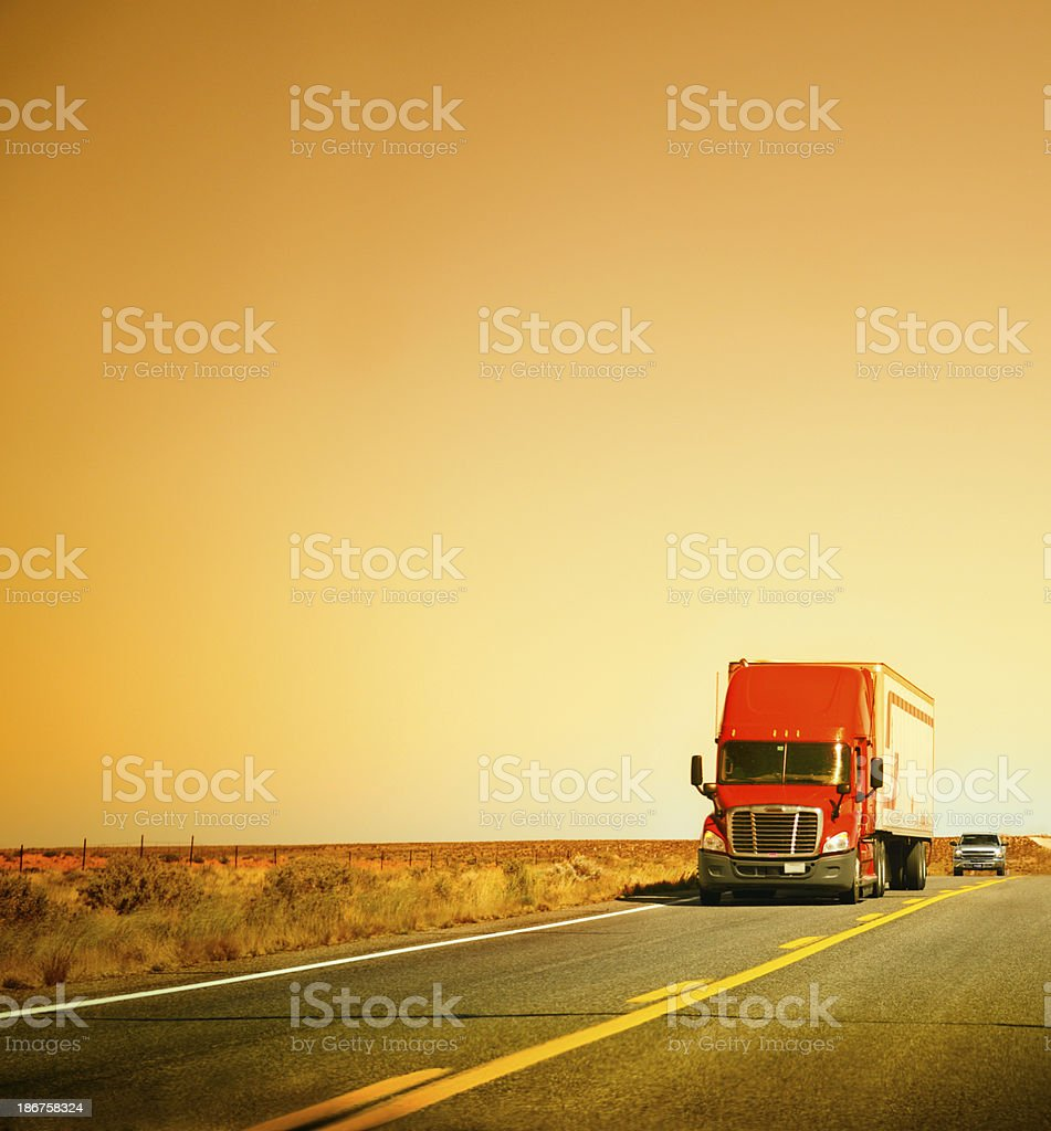 American Truck on Highway, California stock photo
