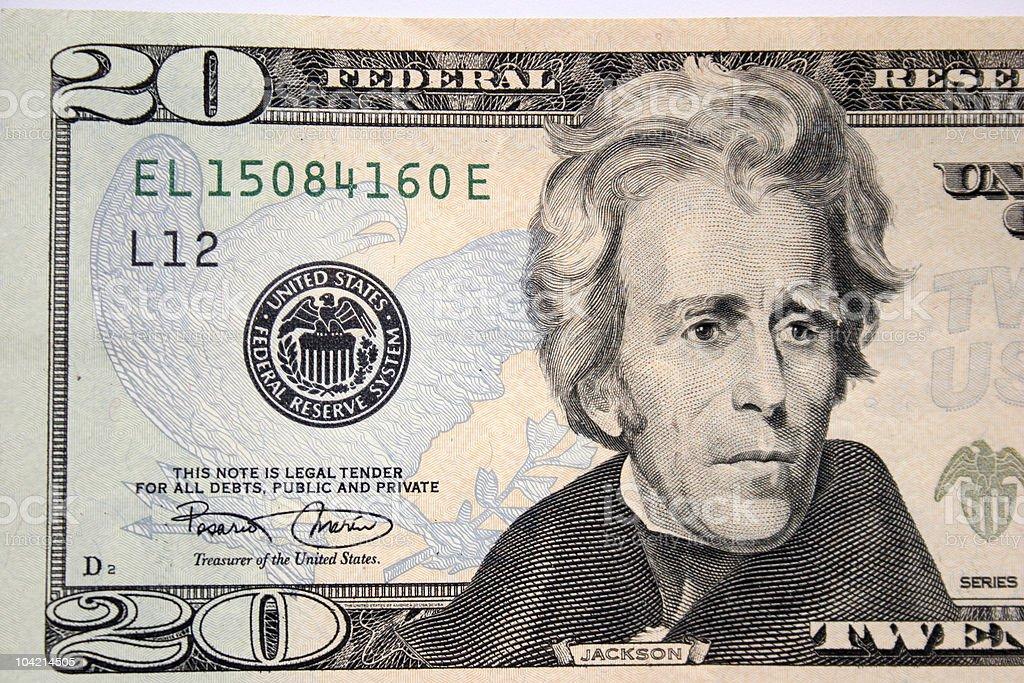 American twenty dollar, Andrew Jackson royalty-free stock photo