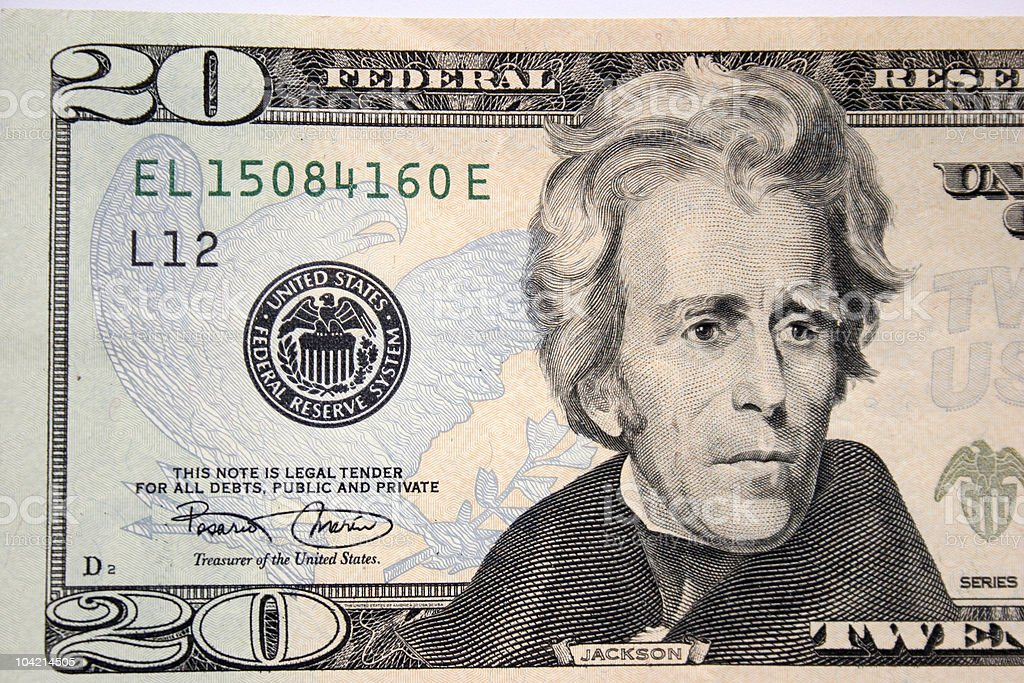 American twenty dollar, Andrew Jackson stock photo