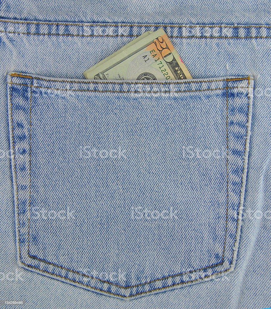 American Twenty Dollar Bill Denim Jean Pocket royalty-free stock photo