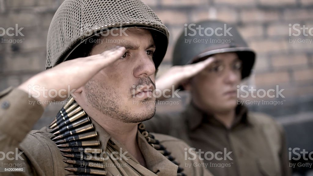 American US soldiers Saluting stock photo