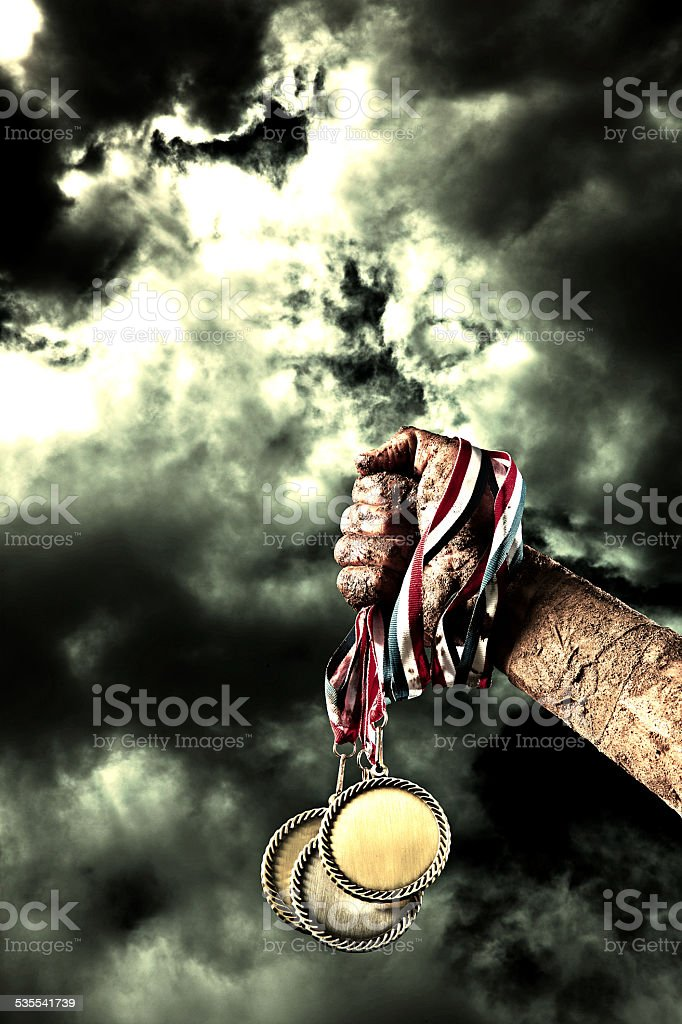 American Victory with Trophy Medallion and Muddy Arm stock photo