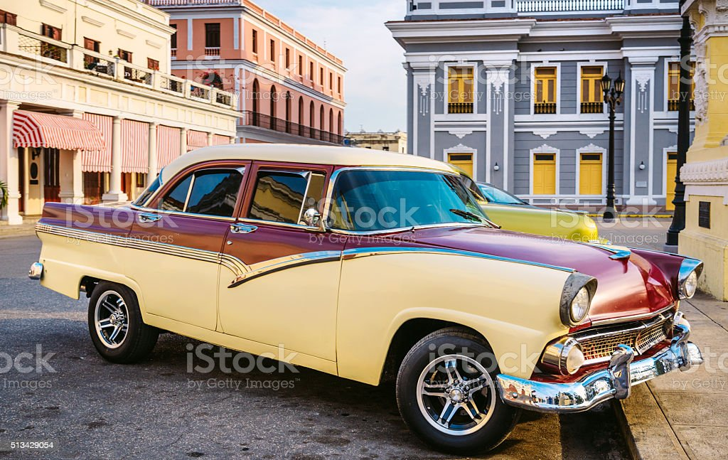 American vintage car on Cuban street stock photo