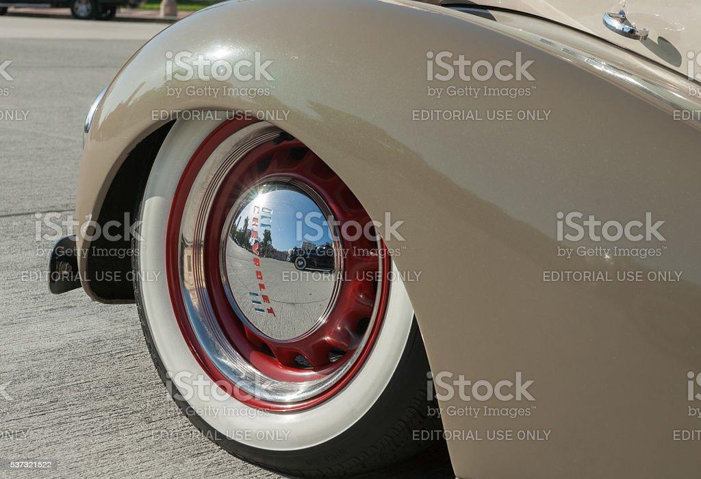 American vintage car wheel closeup stock photo