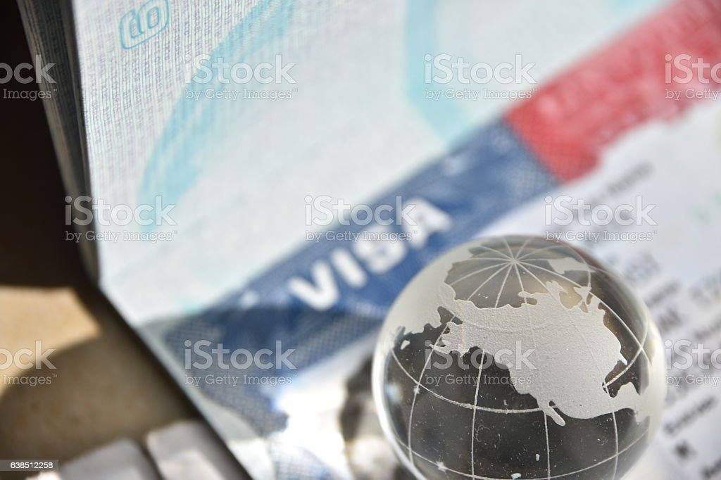 American Visa And Globe stock photo