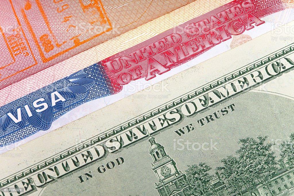 American visa on page of  international passport and US dollars, stock photo