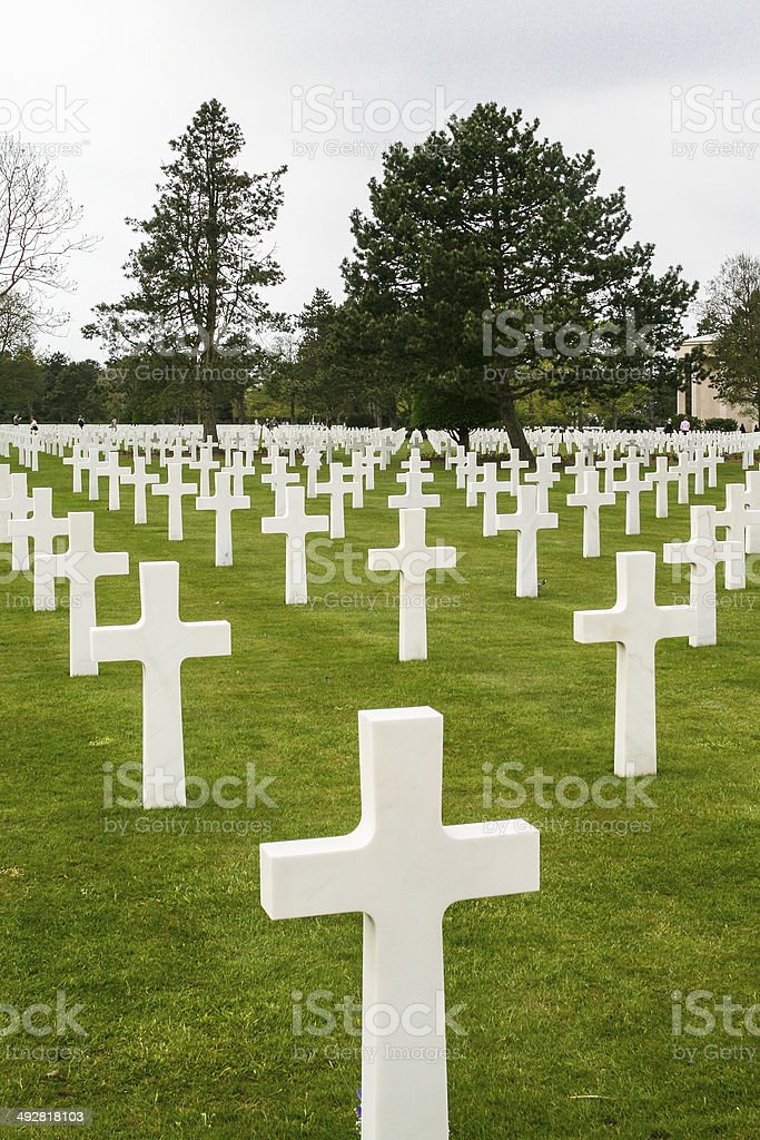 American War Cemetery and Memorial, Colleville-sur-Mer, France royalty-free stock photo
