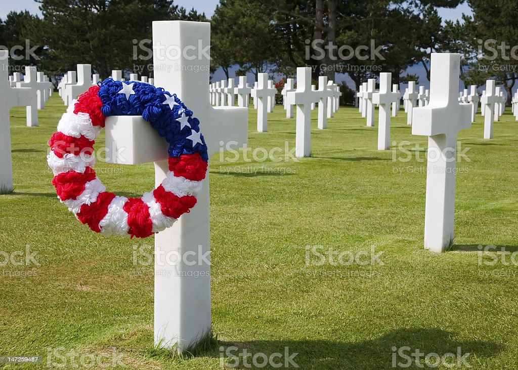 American war cemetery Colleville Sur Mer France royalty-free stock photo