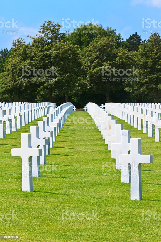 American War Cemetery near Omaha Beach, Normandy (Colleville-sur royalty-free stock photo