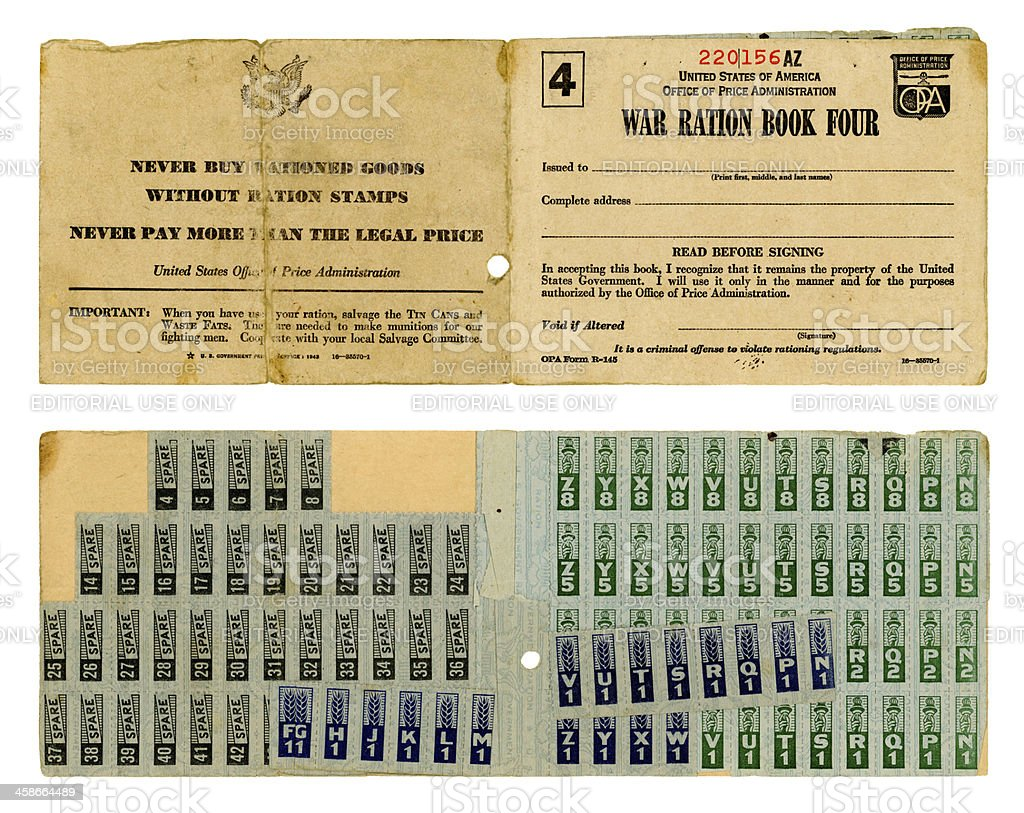 American War Ration Book Four stock photo