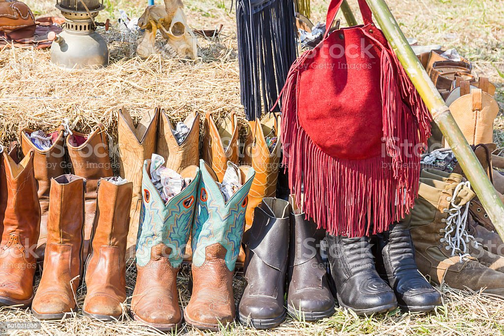 American West cowboy leather boots stock photo