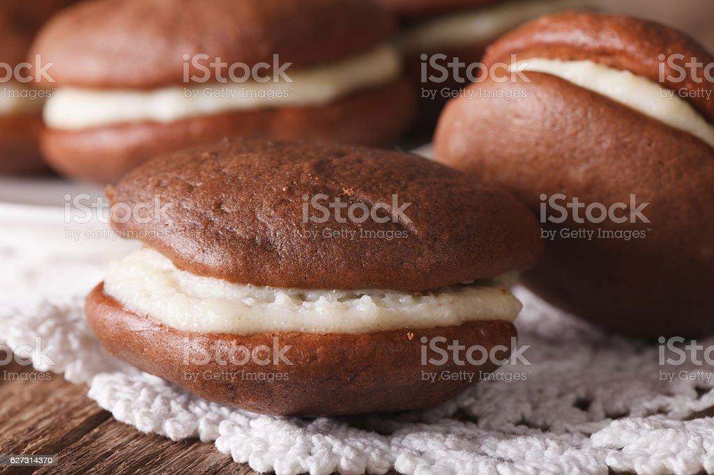American Whoopie pie dessert macro. Horizontal stock photo